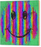 Rainbow Abstract Smiley Face Wood Print