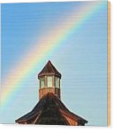 Rainbow Against Blue Sky Wood Print