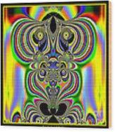 Rainbow Alien Owls Fractal 57 Wood Print