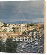 Rainbow And Ancient Aqueduct Wood Print by Viacheslav Savitskiy