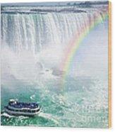 Rainbow And Tourist Boat At Niagara Falls Wood Print