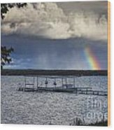 Rainbow At Burt Lake Wood Print