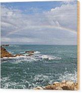 Rainbow Over Cape Dombey Obelisk Wood Print