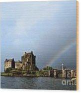 Rainbow At Eilean Donan Wood Print