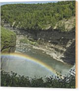 Middle Falls With Rainbow Wood Print