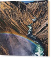 Rainbow At The Grand Canyon Yellowstone National Park Wood Print