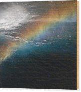 Rainbow At Waterfall Base Wood Print