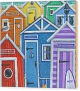 Rainbow Beach Huts Wood Print