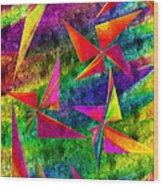 Rainbow Bliss - Pin Wheels - Painterly - Abstract - V Wood Print