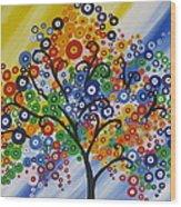 Rainbow Bubble Tree Wood Print