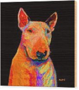 Rainbow Bull Terrier Wood Print