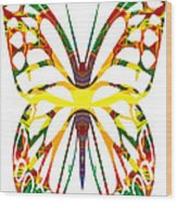 Rainbow Butterfly Abstract Nature Artwork Wood Print