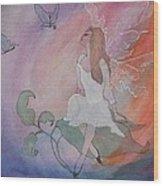 Rainbow Butterfly Fairy Wood Print