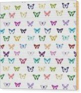 Rainbow Butterfly Pattern Wood Print