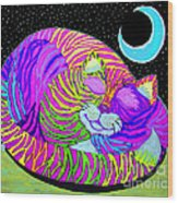 Rainbow Cat Blue Moon Wood Print