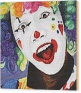Rainbow Clown Wood Print