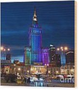 Palace Of Science And Culture In Rainbow Colors  Wood Print