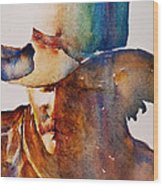 Rainbow Cowboy Wood Print by Jani Freimann