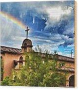 Rainbow Cross Church Wood Print
