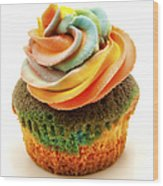 Rainbow Cupcake  Wood Print