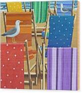 Rainbow Deckchairs Wood Print