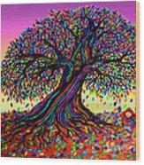 Rainbow Dreams And Falling Leaves Wood Print