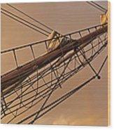 Tall Ship Meets Rainbow Wood Print
