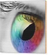 Rainbow Eye Wood Print