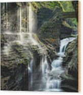 Rainbow Falls Square Wood Print