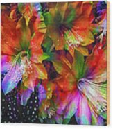 Rainbow Flowers Wood Print