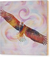 Rainbow Flying Eagle Watercolor Painting Wood Print