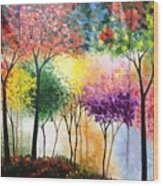 Rainbow Forest Wood Print by Shilpi Singh