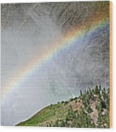 Rainbow From Spray Of Lower Yellowstone Falls Against Yellowstone Canyon Wall-wyoming  Wood Print
