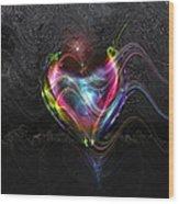 Rainbow Heart Wood Print by Linda Sannuti