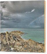Rainbow In Storm Clouds Pointe De Saint Cast  Wood Print