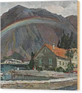 Rainbow In The Mountains Wood Print