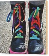 Rainbow Laces Wood Print