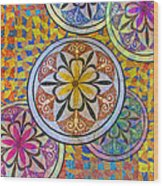 Rainbow Mosaic Circles And Flowers Wood Print