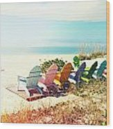 Rainbow Of Adirondack Chairs IIII Wood Print