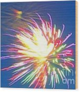Rainbow Of Color Abstract Fireworks Wood Print