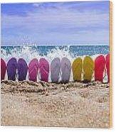 Rainbow Of Flip Flops On The Beach Wood Print