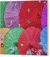Rainbow Of Parasols   Wood Print by Alexandra Jordankova