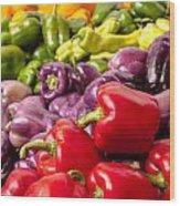 Rainbow Of Peppers Wood Print