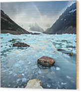 Rainbow On Ice Lake Wood Print