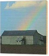 Rainbow On The Farm Wood Print