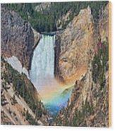 Rainbow On The Lower Falls Yellowstone National Park Wood Print