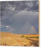 Rainbow On The Plains Wood Print
