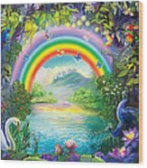 Backgraund Rainbow On Varshana  Wood Print
