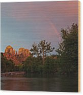 Rainbow Over Cathedral Rocks Wood Print