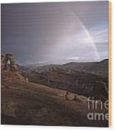 Rainbow Over Delicate Arch Wood Print